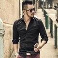 Botão Cuff francês Dos Homens Camisas de Vestido 2017 Nova primavera de Luxo Slim Fit Manga Longa Camisas de Marca de Negócios Formal Moda Homme