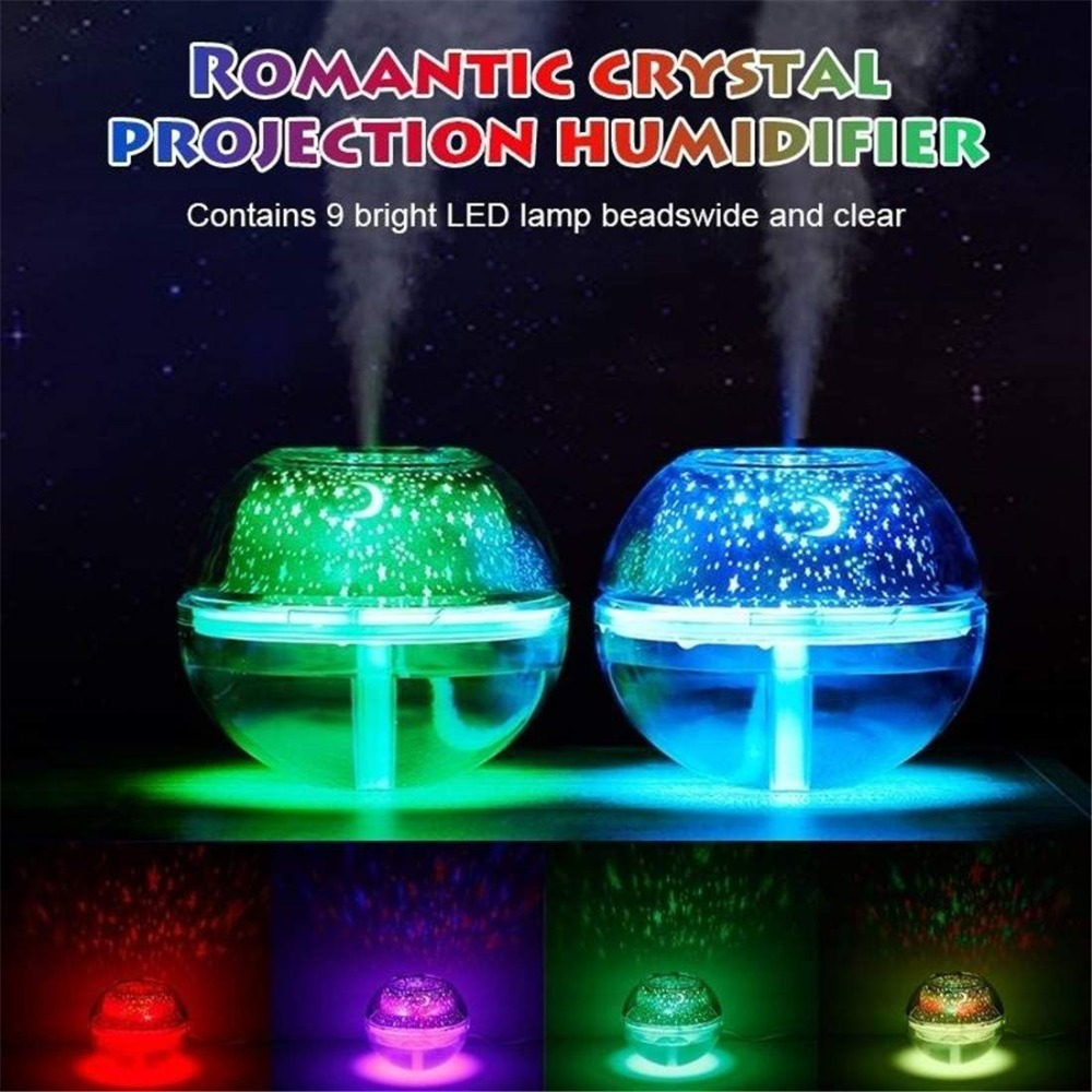 Nice Eas-usb Crystal Night Lamp Projector 500ml Air Humidifier Desktop Aroma Diffuser Ultrasonic Mist Maker Led Night Light For Hom Humidifiers Small Air Conditioning Appliances