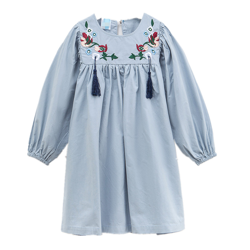 4 to 16T kids & big girls embroidery flower long sleeve cotton shift dress children fall winter fashion flare dresses 3 4 sleeve tribal print shift mini dress