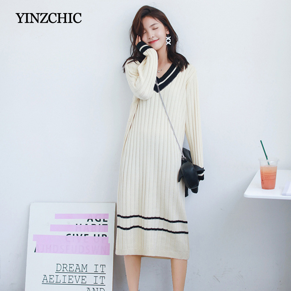 Femme hiver tricoté mi robe v cou femme automne robes droites décontracté robes Midi femmes chaud pull robes filles-in Robes from Mode Femme et Accessoires on AliExpress - 11.11_Double 11_Singles' Day 1