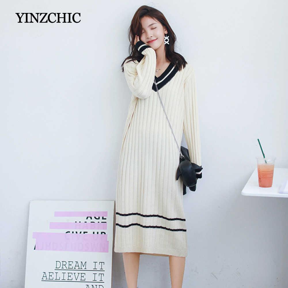 Woman Winter Knitted Mid Dress V-Neck Female Autumn Straight Dresses Casual Midi Dresses Women Warm Sweater Dresses Girls