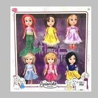 Disney 6 pcs Poupées 6.5 Pouce 15 cm Poupées Belle et Belle Frozen princesse Elsa Anna Neige et Glace Poupée pour Enfants Cadeau De Noël