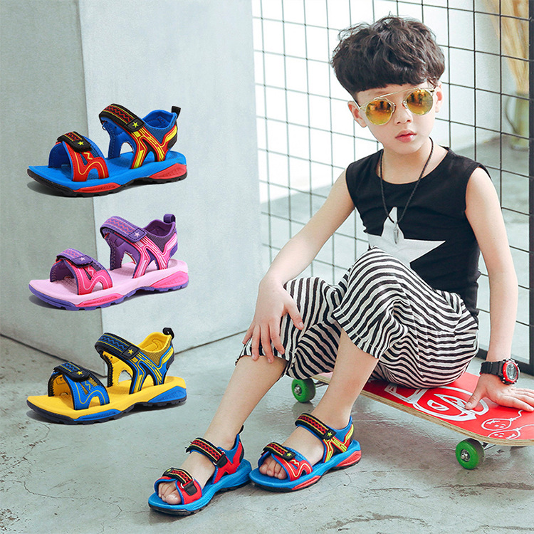 HOBIBEAR kids sandals 2018 summer boys sandalias girls sandals children beach shoes casual comfortable cool shoes wearable baby mmnun 2017 boys sandals genuine leather children sandals closed toe sandals for little and big sport kids summer shoes size26 31