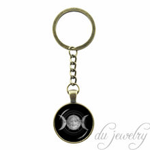 Pagan Religion Key Chain Ring Wiccan Pentagram Keychain Triple Moon Goddess Pendant Key Chains Pentagram Pentacle Jewelry(China)