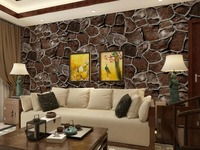 Retro Pattern Simulation Stone Hotel Restaurant Rocks Waterproof PVC Wallpaper Factory Direct Sale