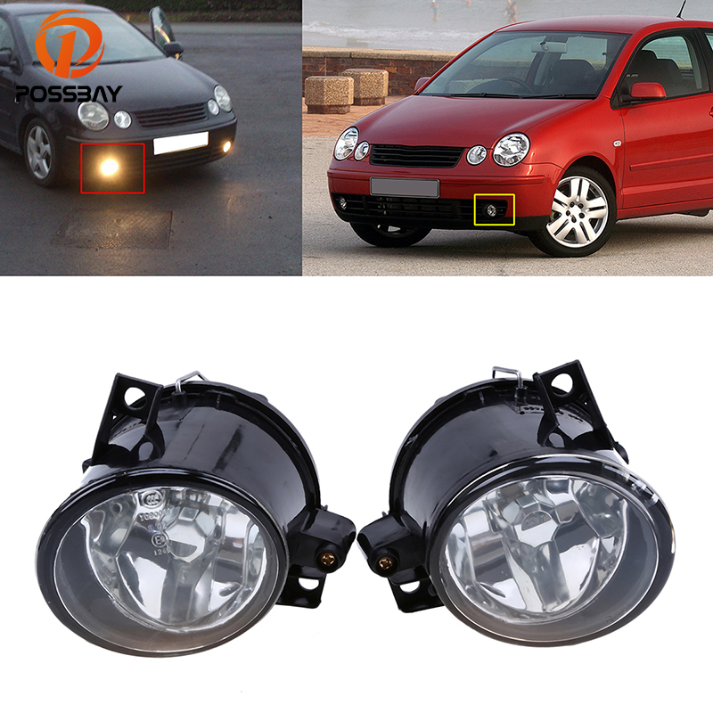 POSSBAY Yellow Halogen Fog Light Assembly Fit for VW Polo 9N MK4 2001 2002 2003 2004 2005 Car Auto External Lights front bumper fog lamp grille led convex lens fog light angel eyes for vw polo 2001 2002 2003 2004 2005 drl car accessory p364
