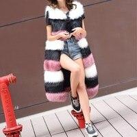 Fur vest 2017 autumn and winter imitation fox fur long section stitching vest Korean Slim was thin