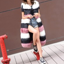 Fur vest 2017 autumn and winter imitation fox fur long section stitching vest Korean Slim was thin