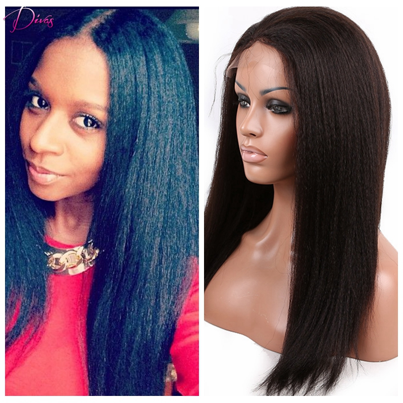 Kinky font b straight b font wig for black women italian yaki full lace wig font