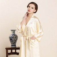 Real Silk Sleeping Robe Female High Quality 100 Silk Bathrobes Two Piece Sets Embroidery Noble Sleepwear