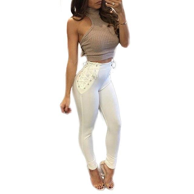 2017 новое прибытие Моды сплошной цвет новый designned Threading ремни бинты Тонкий, нося леггинсы женский клуб брюки CM9703