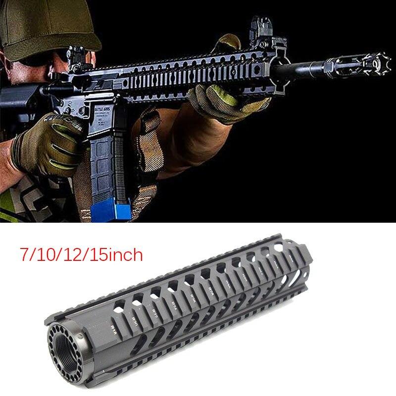 Tactical Hunting Free Float Quad Rail Heavy Duty Handguard System AR-15 M16 M4 Handguard 7 10 12 15 Inch Paintball Hunting