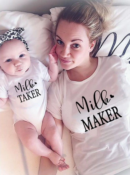 1pcs Milk Maker Milk Maker Mommy And Baby Shirt Mother & Child Shirts Summer Baby Onesie Womens T-Shirt Clothes Family Look