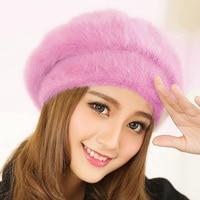 New Winter Women Fur Beret Hat Lady Knitted Cotton Berets Hats Fashion Women Faux Rabbit Fur