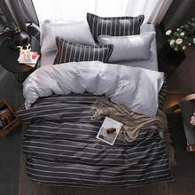 BEST luxury black strips Duvet Cover flat bed Sheets +Pillowcase  King Queen full Twin Bedding Set Bedding Set 3/4pcs