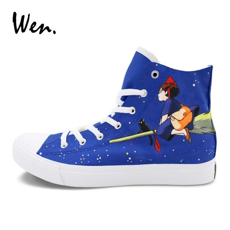 Wen унисекс спортивная обувь Ручная роспись обувь Кики Услуги Аниме Дизайн обувь с подошвой из вулканизированной резины для девочек и мальчиков Косплэй; обувь на Плоском Каблуке - 2