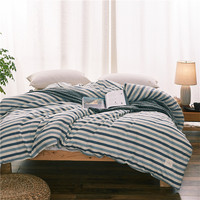 Modern Style Blue Stripe Pattern Bedding 1 Piece Duvet Cover With Zipper 100 Cotton Quilt Or