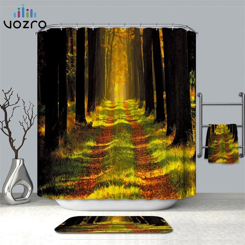 VOZRO Shower Curtain Of Natural Quality Of Waterproof Polyester 2 M 3d Decoration Simple Shower Douchegordijn Youtube Bape Groot-in Shower Curtains from Home & Garden