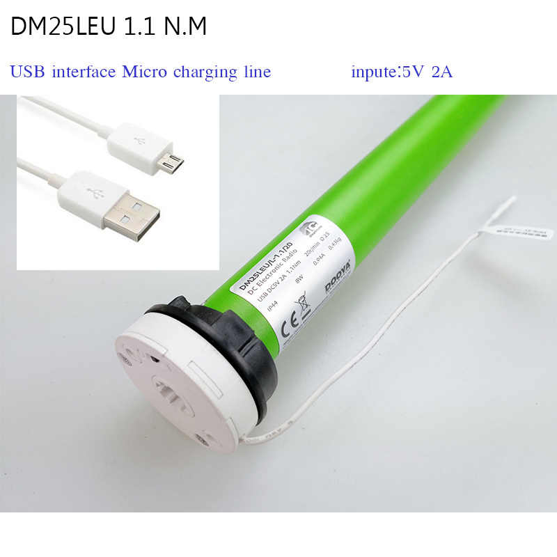 DOOY motor DM25LE 1.1 N.m input 5V 2A USB Micro interface ,fit for 38mm tube for roller blinds