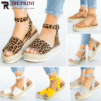 RIBETRINI INS Big Size 43 Fashion Leisure Chunky Bottom Summer Sandals Shoes Women Platform Gladiator Casual Sandals Woman Shoes