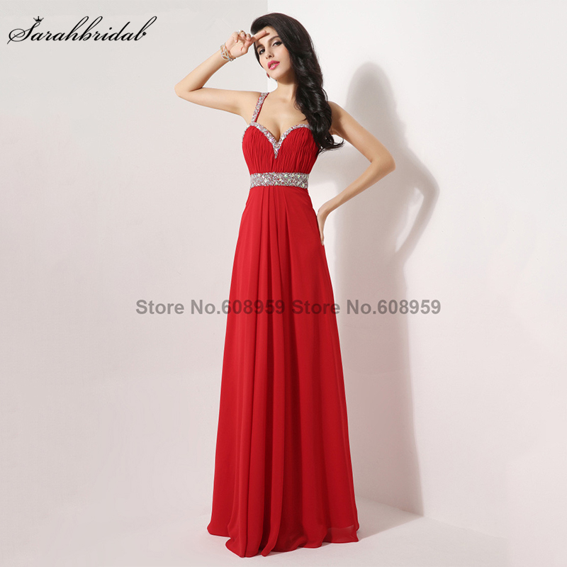 In Stock A-line Crystal Beaded Chiffon   Evening     Dress   Prom Gowns Real Sample Elegant Long Sexy Backless   Evening     Dresses