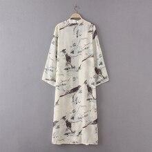 Full Sleeve Bird Printed Long Kimono with Casual Loose Sunscreen Blouse Shirt