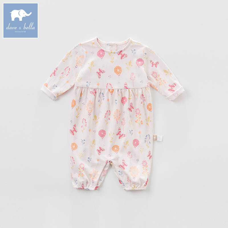 DBA6594 dave bella spring new born baby cotton romper infant clothes girls pink cute romper baby 1 piece