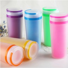 Candy Colors Unbreakable Frosted Leak-proof Plastic kettle 500mL BPA Free Portable Water Bottle for Travel Yoga Running Camping
