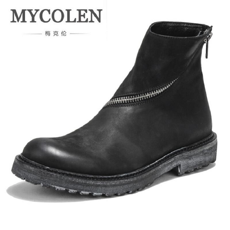 MYCOLEN Cowhide Leather Winter Vintage Retro Punk Motorcycle Boots Male dr. martins Shoes Men Snow Ankle High Top Boots