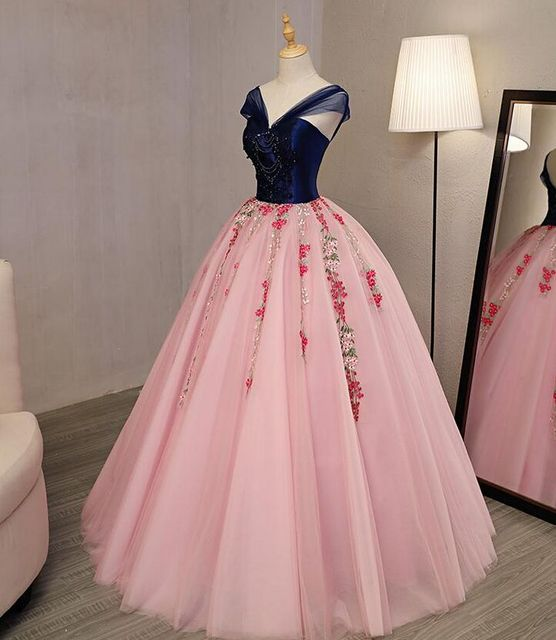100%real royal blue pink fairy Medieval Renaissance ball gown Sissi ...