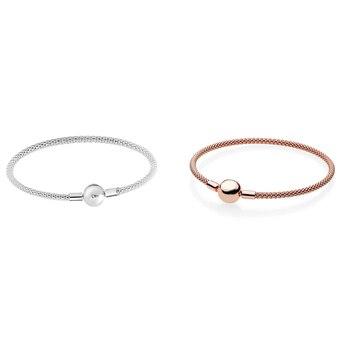 Silver & Rose Golden Mesh Bracelets for Women & Men Signature Round Clasp Fashion Silver 925 Jewelry DIY Charm Bracelet фото
