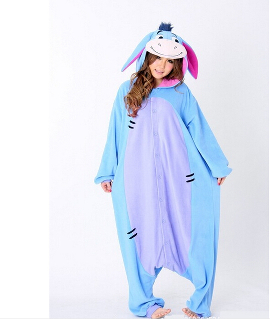 Unisex Men Women Adult Pajamas Cosplay Costume Animal Onesie Donkey  Sleepwear Plus Size S M L XL halloween costumes for women a09ba4a858b1