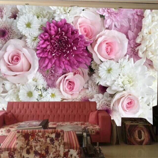 Wholesale Chrysanthemum&Rose Flower 3d Wall Mural Vinyl Wallpaper For Sofa Background Wedding Room 3d Wall Photo Mural Fresco