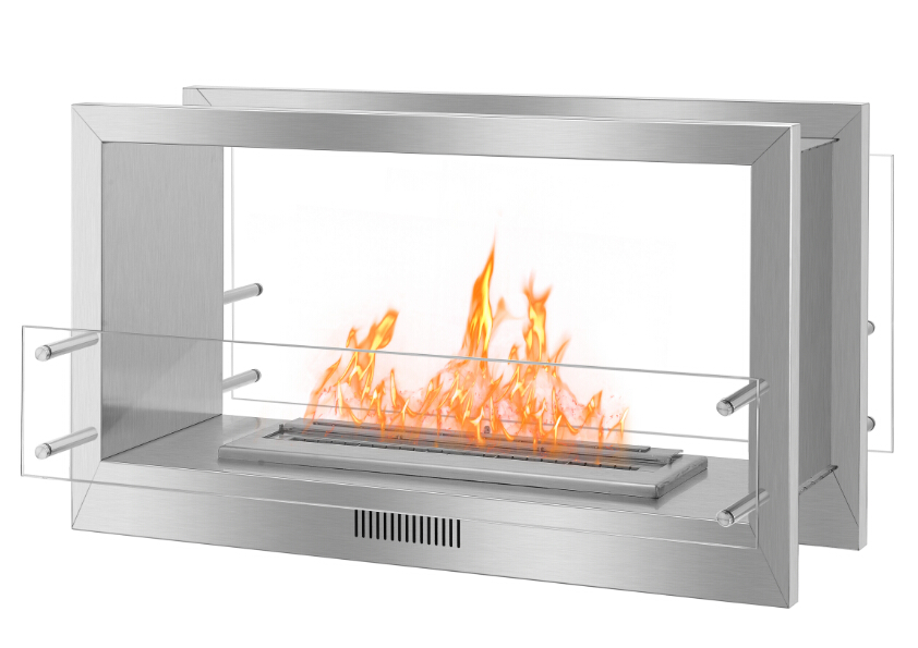 Real Fire Stainless Steel  Double Sided Fireplace Frames