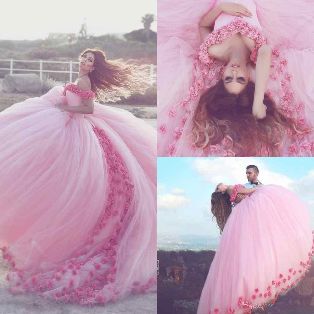2017 Saudi Ahamad Pink 3D Flora Quinceanera Dresses Poofy Ball Gown ...