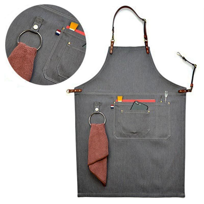 2018 Senior Denim Cowboy BBQ Apron Bib Leather Straps Kitchen Apron For Women Men Barber Cooking Restaurant Waitress Print Logo