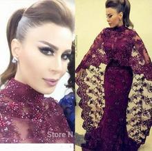 Lila Lace Beaded Mermaid Lange Dubai Abendkleider Mit Schal 2016 Formale Abendkleider robe de soiree Dubai Arabische Kleider