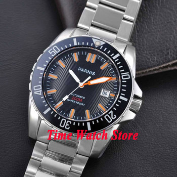 Parnis watch 43mm Black dial Sapphire glass stainless steel strap Ceramic Bezel Diver Automatic movement  Men's watch 122