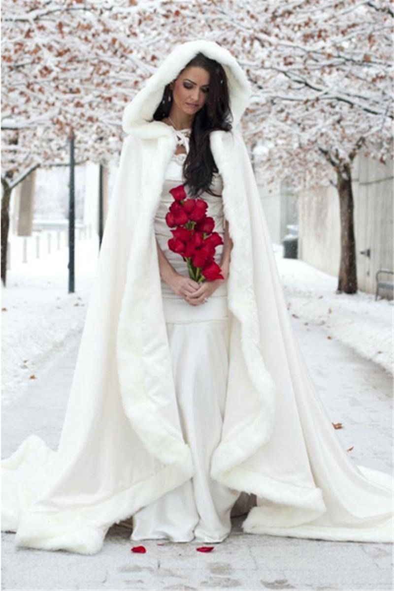 Elegant 2016 Ivory Hooded Wedding Cape Bridal Bolero Red Blue Winter Faux Fur Coat Women Jacket Cloaks In Jackets Wrap