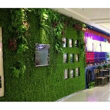 Hot sale 1pc Green Grass Artificial Turf Plants Garden Ornament Plastic Lawns Carpet Wall Balcony Fence For Home Decor 40x60cm