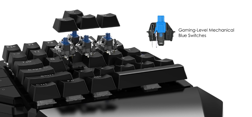 Mini Mechanical Blue Switches PC Gaming Keypad for FPS Games, One-hand Keyboard with LED light - GK100 8