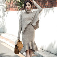 Korean Fashion Turtleneck Sweater Set Women Autumn Winter Knitted 2 piece set women skirt top Irregular Sweater Mermaid Skirt