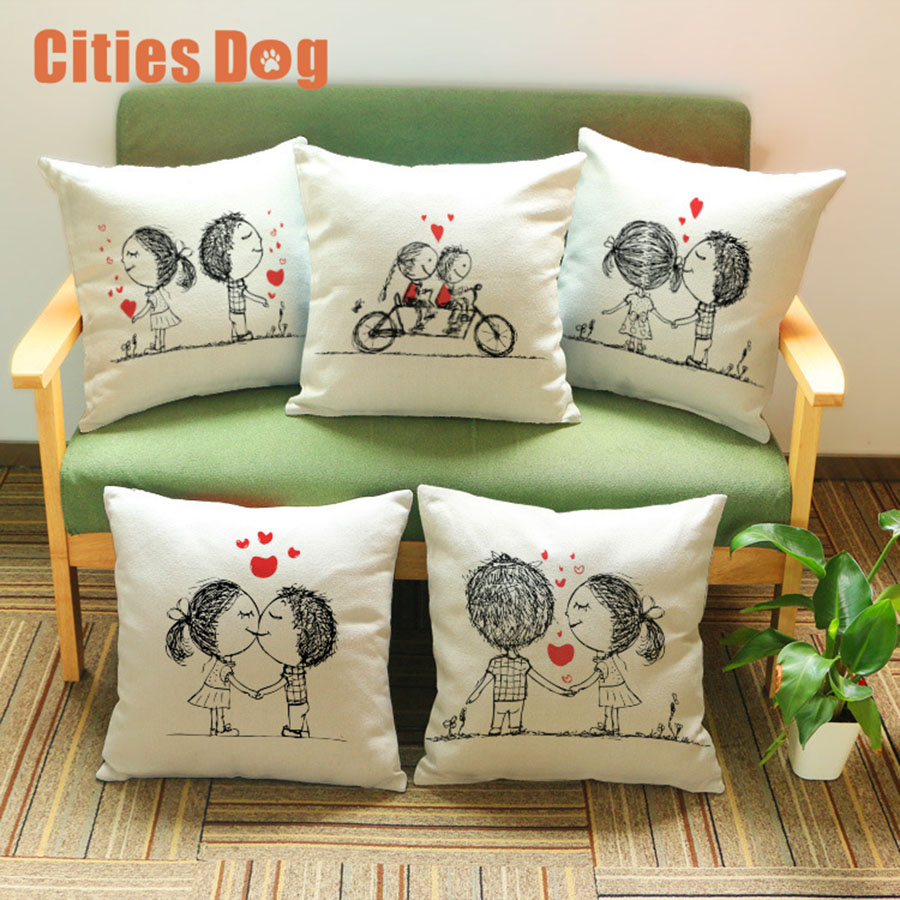 cartoon love couple pattern Printed Cotton Linen Pillowcase Decorative Pillows Cushion Use For Home Car Office Almofadas Cojines