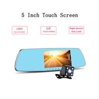 5 Touch Screen Mirror Dash Cam Dual Dashboard Camera Recorder Front Rear View HD Camera G Sensor Night Vision Parking Monitor