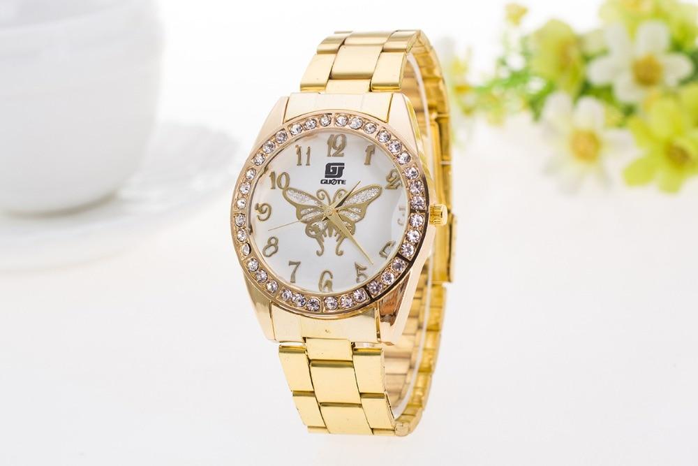 все цены на  Luxury Brand GUOTE Gold Geneva Crystal Casual Quartz Watch Women Fashion Stainless Steel Dress Watches Reloj Mujer Clock Hot  в интернете