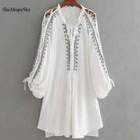SheMujerSky Embroidery Shirt Women S White Blouse Long Tops With Split Chemise Femme Manche Longue