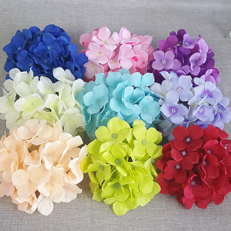 10pcs 15cm artificial large fabric hydrangea flower heads silk flowers for bridal bouquet hair floral wedding