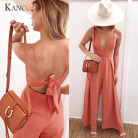 Women Causal V Neck Back Bow Jumpsuit Clubwear Bodycon Playsuit Romper Perfectly Mar 15