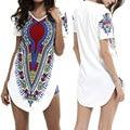 Impresiones de verano Vendimia de Las Mujeres Suelta de Manga Corta O de cuello Camiseta work party dress casual ladies streetwear hippie mini dress shirt Y1