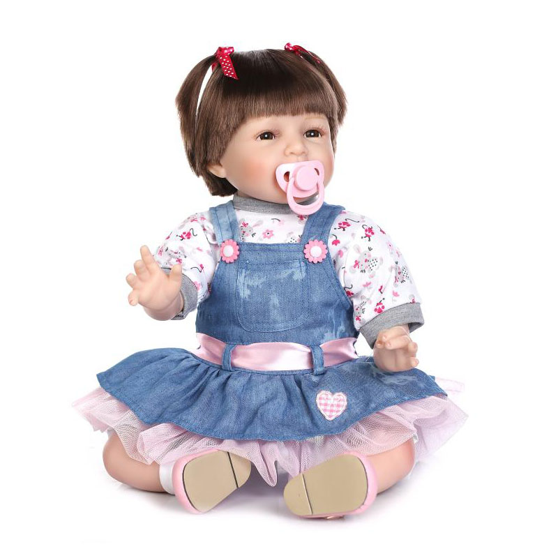 Cosplay Girl DIY Dolls 22'' Realistic Soft Silicone Reborn Baby Doll with Smile Kids Birthday Xmas Gift Hot Sale Reborn Bonecas smile reborn girl with blue dress 22 lifelike baby dolls soft silicone fashion kids toy xmas gifts reborn baby doll for sale